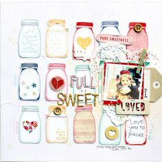Scrapbook Layout with jars in all different colors.  Great summertime or early fall layout.