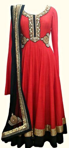 Red Tussar Anarkali — IFE Deepak Shekhar — Formal Salwaar Kameez   Indianhanger.com