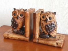 Owl Carved Wooden Book Ends - The English Owl Company