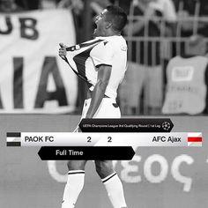 #PAOKAJAX 2-2 #UCL #OwnTheTop Afc Ajax, Uefa Champions League, Finals, Baseball Cards, Scores, Final Exams