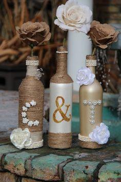 hochzeitsideen recycling dekoideen hochzeitsdekoration glasflaschen jute