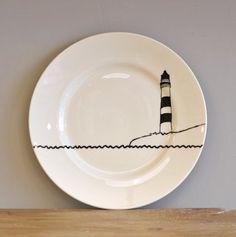 black lighthouse side plate