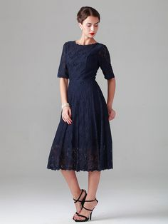 Elbow Sleeve Lace Dress  - bridesmaids (with a belt?)