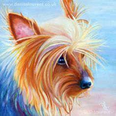 painting of a yorkshire terrier 8×8 inches oil on board sold Here's a small painting of a Yorkshire terrier on the beach. Although it a close up I loved the way the soft colour of the be…