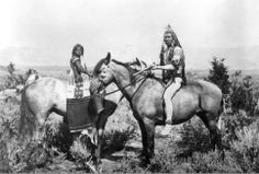 """The Warrior and his Bride."" Ute Indian warrior and bride from the Uintah Valley, eastern slope of the Wasatch Mountains. Photo by J.K.Hillers of the Powell Expedition, 1873. (Courtesy Utah State Historical Society)"