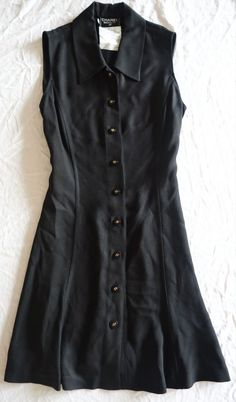 ~ CHANEL BOUTIQUE BLACK  BUTTON FRONT SLEEVELESS SHIRT DRESS (SO CLASSIC!) 42 #CHANEL
