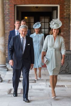 Kate's parents, Michael and Carole Middleton. Michelle of Perth's Fashion noted Carole Middleton appeared to be wearing this Suzannah dress. Carole Middleton, Middleton Family, Duchess Kate, Duke And Duchess, Saint James, Christening Photos, Pale Blue Dresses, Royal Dresses, Princesa Kate