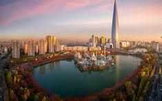 Download wallpapers Seoul, Lotte World Tower, skyscraper, 123 floors, modern buildings, park, lake, South Korea, Lotte World