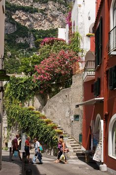 Positano Street Scene Italy..walked down this road...filled with quaint shops.