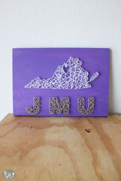 I was a JMU Duke, so naturally James Madison University has a special place in my heart! This JMU string art has the heart in Harrisonburg. Graduation Party Decor, College Graduation, College Dorm Crafts, James Madison University, Grad Gifts, Diy Gifts, Purple Backgrounds, School Fun, String Art