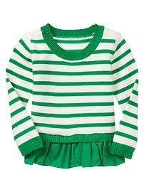 Striped pleated sweater