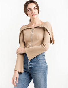 Roebling Ribbed Zipped Off The Shoulder Sweater