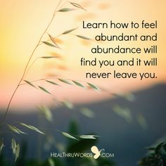 It is time to stop focusing on the lack that may be 'out there' and begin feeling all the abundance that is ALREADY inside of you. https://healthruwords.com/inspirational-pictures/the-feeling-of-abundance/ #abundance #wealth #mindfulness #heartfulness #HealThruWords