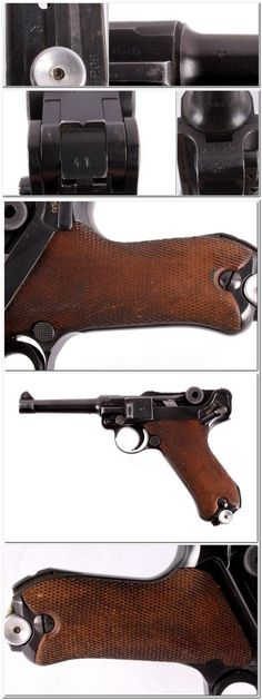 This is a rare example of a late 1942 Mauser Luger World War II Nazi pistol. Revolver, Luger Pistol, M&p 9mm, Assault Weapon, Military Surplus, Guns And Ammo, Black Widow, Firearms, Hand Guns