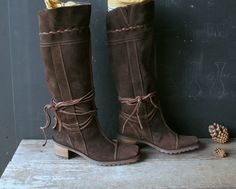 Vintage Tall Boot Suede Leather Womens Size 6.5 U.S 37 European From Nowvintage on Etsy