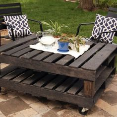 This particular table was made using 2 – 4′ x 4′ wood pallets, 1 – 4″x4″, 4 caster wheels, some L-brackets and screws and gray stain. The result is a very practical outdoor rolling table that can act as a coffee table when you're sitting outside, interacting with your friends or family, or as a mini dining table when you need a snack and you want to enjoy it outside.{found on joyeverafter}