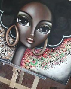 """BlackGold"" 🌟 80 x - romi_lerda_art Dog Canvas Painting, Dot Art Painting, Painting Of Girl, Fabric Painting, Acrilic Paintings, Frida Art, Image Fun, Black Women Art, Arte Pop"