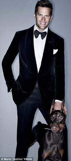 Tom Brady looking Bond-esque with a Doberman