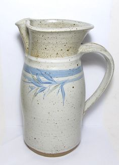 Wonderful Gerry Williams Stoneware Art Pottery Strap Handle Decorated Pitcher