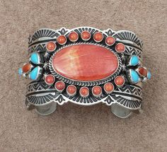 Albert Jake Orange Spiny Oyster Shell Turquoise Sterling Cuff