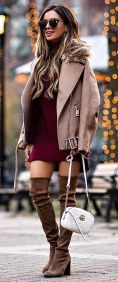 fashionable outfit / nude biker jacket + bag + maroon dress + brown over knee boots