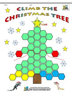 Climb the Christmas Tree - a Christmas math game for kids age Kindergarten and up -a strategy game to try to be the first player to get all your counters to the top of the tree Christmas Games, Christmas Activities, Kids Christmas, Kindergarten Christmas, Winter Activities, Math Games For Kids, Math Activities, Kids Math, Teaching Main Idea