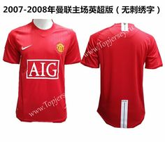 1315c794469 Without Chest Letters Retro Version 2007-2008 Manchester United Home Red  Thailand Soccer Jersey AAA