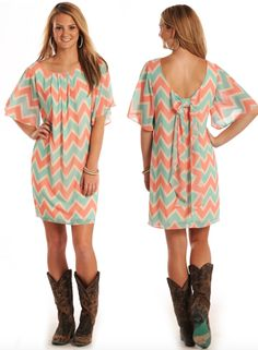 Pink Mint Chevron Bow Back Dress | Catalog Products | Stockyard Style | Inspired by the Styles of our Nation's Stockyards
