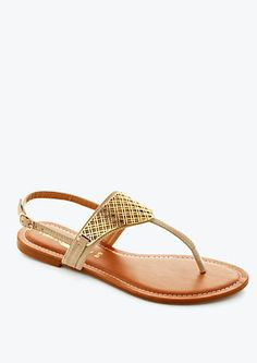image of Gold Criss Cross T-Strap Sandal