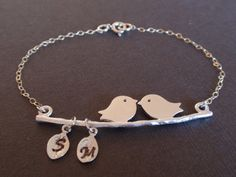 Personalized Initial Two bird love Sterling Silver bracelet