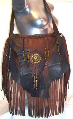 OH I wish I could afford this!!!    Designer Leather Handbag,Deerskin Beaded Fringe Purse | debbieleather - Bags & Purses on ArtFire