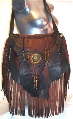 Designer Leather Handbag,Deerskin Beaded Fringe Purse