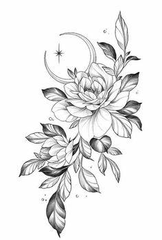 Rose Drawing Tattoo, Flower Tattoo Drawings, Tattoo Design Drawings, Tattoo Sketches, Flower Tattoos, Dope Tattoos, Pretty Tattoos, Body Art Tattoos, Sleeve Tattoos