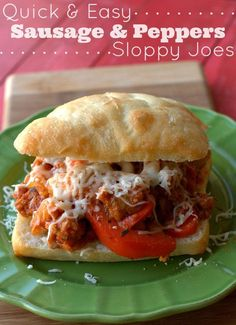 Quick & Easy Sausage & Peppers Sloppy Joes Recipe ready in 30 minutes or less! | www.foodfolksandfun.net | #recipe #dinner #easydinner