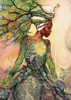 afrikanische frauen Asase Yaa is the Earth goddess of fertility of the Ashanti people ethnic group of Ashanti City-State. She is also known as Mother Earth or Aberewaa. Black Love Art, Black Girl Art, Art Girl, Fantasy Kunst, Fantasy Art, Orishas Yoruba, Black Art Pictures, Afro Art, Art Plastique