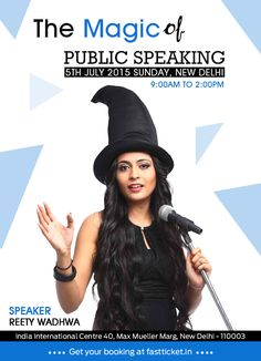 Reety Wadhwa is up with her workshop on public speaking - '@The Magic of Public Speaking' happening at India International Centre, New Delhi on 5th July. Reserve your seats now: http://fastticket.in/event/the-magic-of-public-speaking