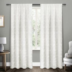 "House of Hampton Hadley Damask Medallion Heavyweight Chenille Jacquard Room Darkening Rod Pocket Curtain Panel Color: Winter White, Size: 52"" W x 1..."