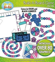 $4.50 Build A Board Game Clipart Set 480+ Graphics in Retro Rainbow Colors (pink, teal, blue, purple)You will receive 81 clipart graphics that were hand drawn by myself - 14 Game Board, 15 Game Cards, 8 Play Money ($1 to $20), 15 Game Pieces, 5 Dice, 7 Arrows, and 4 Spinner.