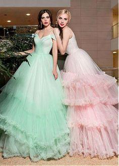 Vintageous, LLC - Superb Russet Tulle 1950\'s Halter Ball Gown ...