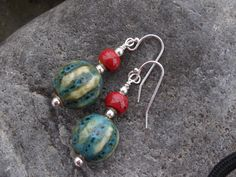 New to SilverWindsJewellery on Etsy: Sterling silver drop earrings  sterling silver red green porcelain dangle  handmade gift for her birthday gift Christmas present (12.50 GBP)