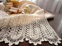 Hairpin lace scarf -in progress Hairpin Lace Crochet, Hairpin Lace Patterns, Picot Crochet, Crochet Afghans, Crochet Stitches Patterns, Knit Or Crochet, Crochet Scarves, Crochet Motif, Irish Crochet