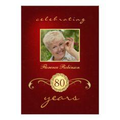 80th Birthday Invitations - Red Gold Monogram #elegant