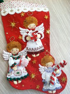 Candy Angels Completed Handmade Felt Christmas Stocking from Bucilla Kit