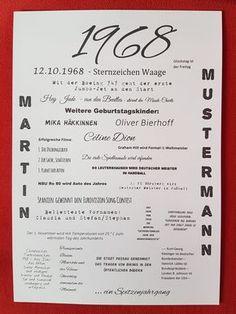 Der Jahrgang 1968 - im Jahr 2018 steht der 50. Geburtstag an. Dieser Druck ist ein tolles und sehr individuelles Geburtstagsgeschenk. Hier finden sich interessante Ereignisse aus Kultur, Sport oder...