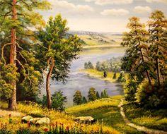 живопись - пейзаж, купить картину Лес(Вид на реку).худ.Р.Смородинов/(211)