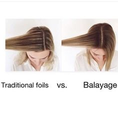 Here's a great example of the difference between the grow out of foil highlights and Balayage