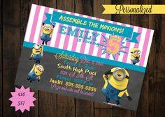 Minion Invitation - printable - Minion Birthday - Minion Girl Birthday Invitation by PurplePalaceDesigns on Etsy