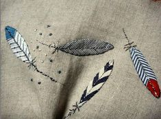 the cloth feather - Jude Hill Hand Embroidery Patterns, Embroidery Applique, Cross Stitch Embroidery, Embroidery Designs, Stitch Book, Fabric Art, Textile Art, Stitch Patterns, Needlework