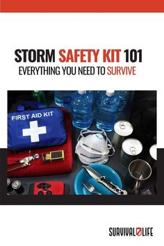 With weather changes happening so abruptly, a storm safety kit is your best chance at braving any storm that might be headed your way. What other supplies would you consider adding to your storm safety kit? Let us know in the comment section below! #SafetyKit #StormSafetyKit #PracticalStormSafetyKit Safety Kit, Weather Change, First Aid Kit, Survival Kit, Everything, Lunch Box, Shit Happens, Survival First Aid Kit, Diy First Aid Kit