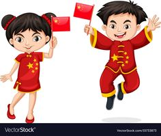 Chinese kids holding flag vector image on VectorStock Chinese Traditional Costume, Japanese Couple, Costumes Around The World, Chinese Cartoon, Flag Vector, Nice To Meet, Chinese New Year, Little People, Children